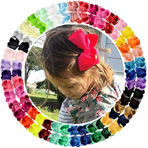 20 Pcs 4.5 Inch Baby Girls Toddler Hair Bows With Alligator Clip Grosgrain Barrettes Bundles Accessories for Infant (20 Pcs 4.5)