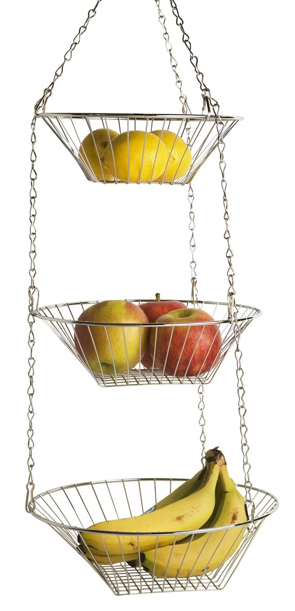 Amazon.com   Home Basics Hanging Basket, 3 Tier, Round   Kitchen Hanging  Baskets