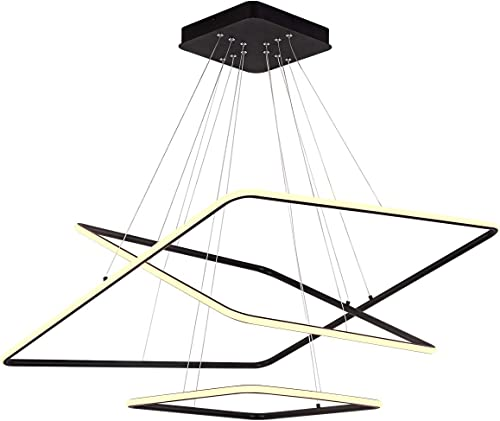 ROYAL PEARL Modern Square Led Chandelier Adjustable Hanging Light Three Ring Collection Contemporary Ceiling Pendant Light H47″ X L32″ x W32″