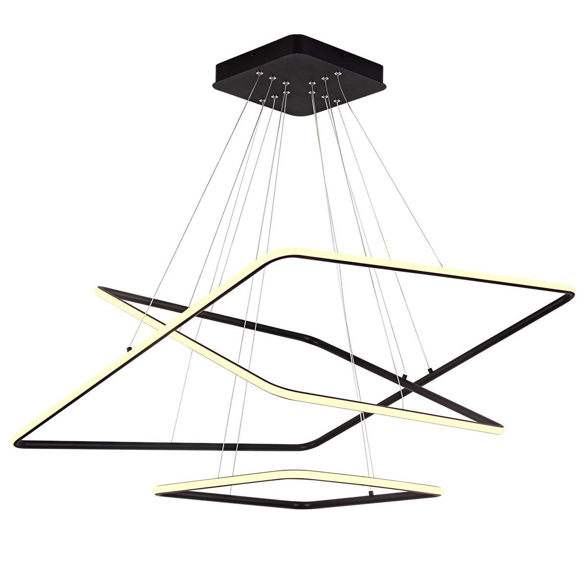 ROYAL PEARL Modern Square Led Chandelier Adjustable Hanging Pendant Light Three Rings Contemporary Ceiling Pendant Lighting, Warm White