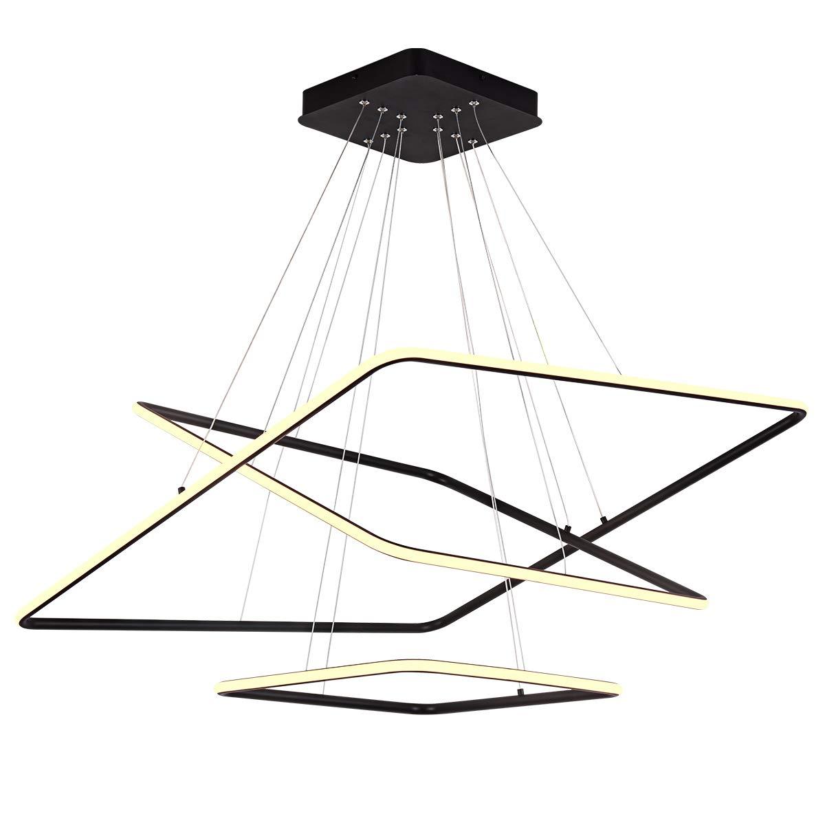 ロイヤルパールモダン正方形LEDシャンデリア調節可能なHanging Light 3つリングコレクションContemporary天井ペンダントライトh47