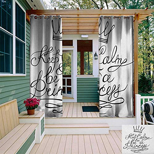 leinuoyi Keep Calm, Outdoor Curtain Panels Set of 2, Be a Princess Motivational Romantic Quote with Hand Letters Save The Date Print, Fabric W96 x L96 Inch Black White