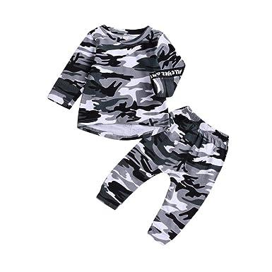 Conjuntos Bebe, ASHOP 0-5 años Niño Niña Otoño/Invierno Ropa Conjuntos, Camisa de Camuflaje Tops + Pants: Amazon.es: Ropa y accesorios