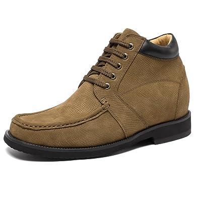 CHAMARIPA Zapatos Botas Piel de Cuero para Hombre,Negro y Marrón - 9 cm Más Alto - V1931: Amazon.es: Zapatos y complementos