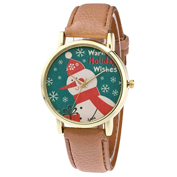 Womens Wrist Watch, Iuhan Christmas Snowman Pattern Analog Female Watches Lady Watches Leather Watch (