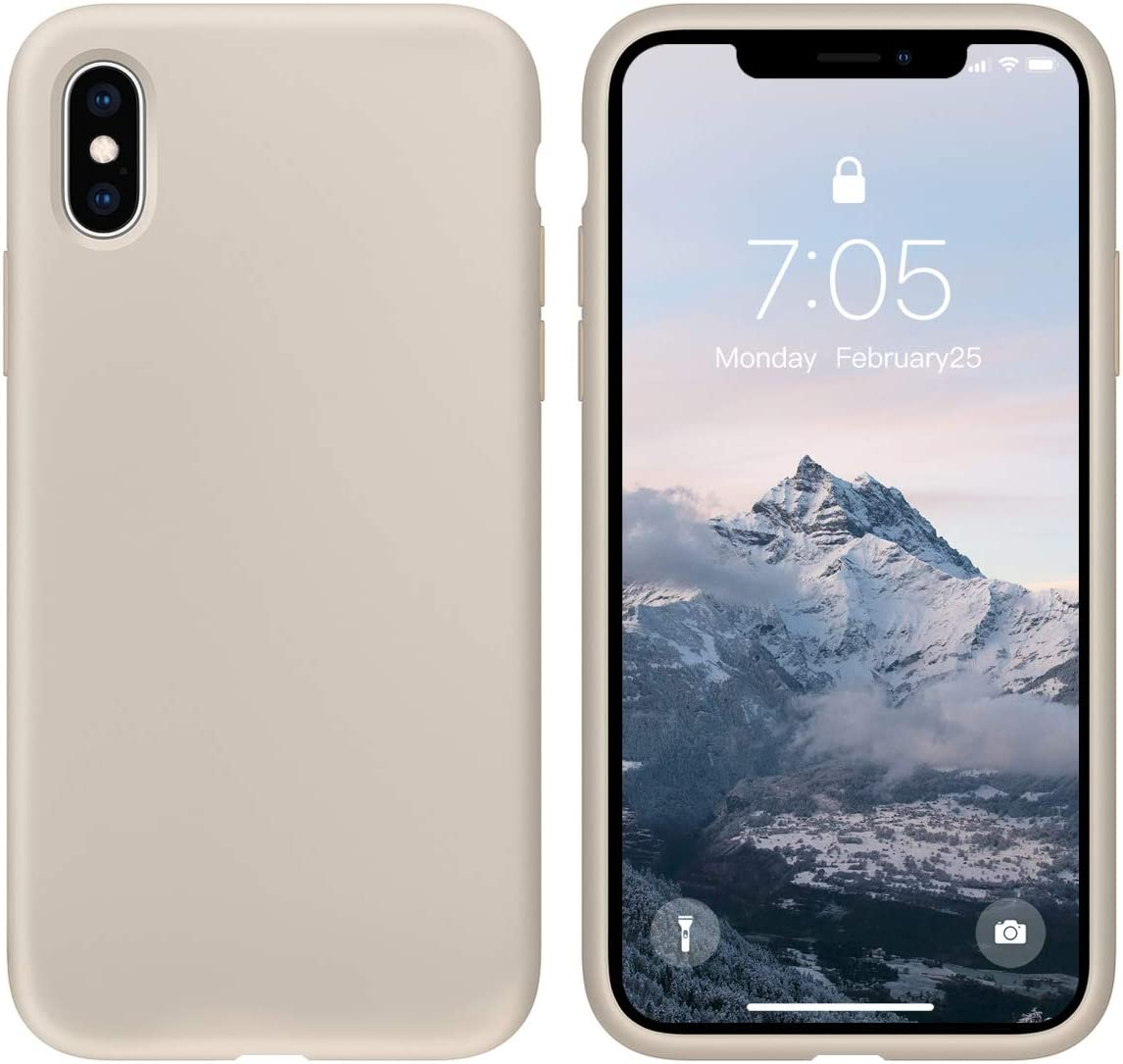 OUXUL Case for iPhone X/iPhone Xs Liquid Silicone Gel Rubber Phone Case,iPhone X/iPhone Xs 5.8 Inch Full Body Slim Soft Microfiber Lining Protective Case(Stone)