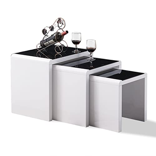Tason white high gloss nest of 3 coffee table with black - Glass side tables for living room uk ...