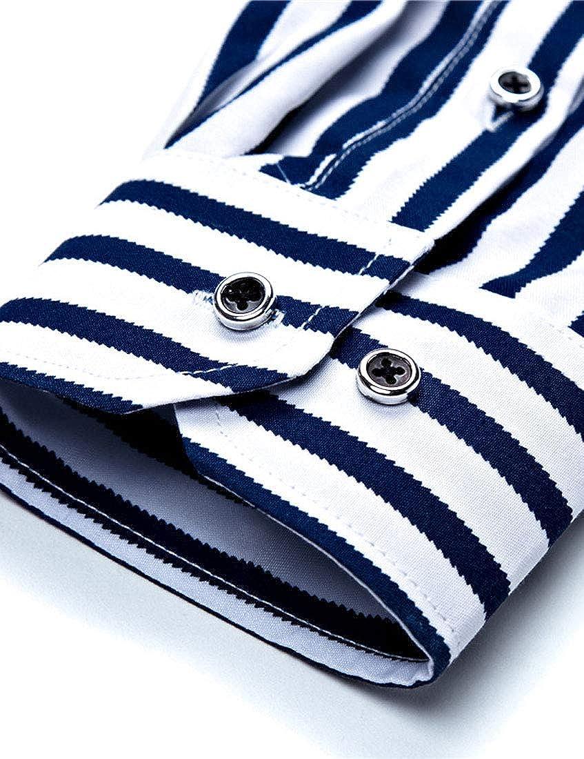 TingW Mens Stripe Printed Blouse Plus Size Business Long Sleeve Formal Wear Shirt
