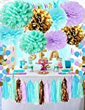 Qian's Party Under the Sea Party Supplies/Mermaid Party Decorations Tissue Pom Poms Paper Garland for First Birthday Decorations Purple Bridal Shower Decorations Wedding Shower Baby Shower Decorations