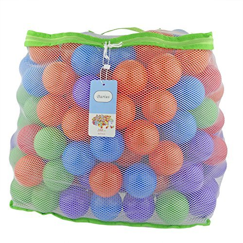 Darius 200 Pit Balls Colored Plastic Balls 5 Bright Colors Phthalate Free BPA Free Reusable Crush Proof Toy for Kids