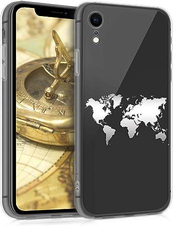 Kwmobile Hülle Kompatibel Mit Apple Iphone Xr Handyhülle Handy Case Travel Umriss Silber Transparent Elektronik