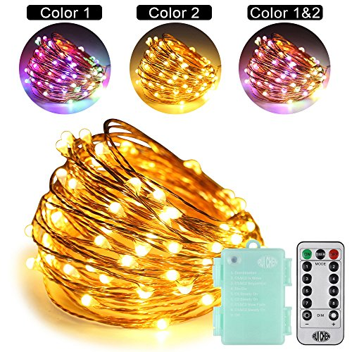 RUICHEN LED String Lights Battery Powered,33Ft 100LED Multi Color Changing Fairy Lights with Remote Waterproof Copper Wire Starry Light for Outdoor Garden Wedding Party Patio(Warm White&Multi Color) from RUICHEN