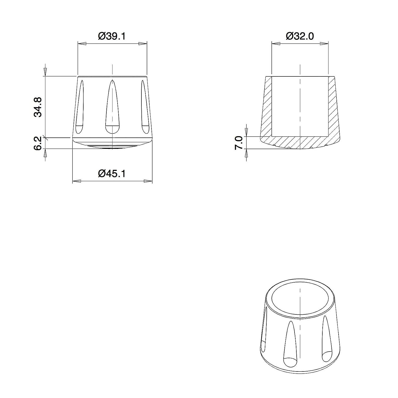 ajile Puntale di Gomma Rinforzata Vulcanizzata BIANCO per Piede di Sedia Piedi di Tavola con Diametro 32 mm EVS232x4-FBA Confezione da 4 Pezzi