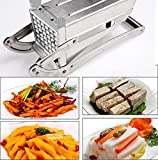 Bluefringe French Fry Cutter,Stainless Steel Potato Slicer with 2 Interchangeable Blades and Non-Slip Suction Base for Potato for Potato Onion and Other Veg into Finger Sticks