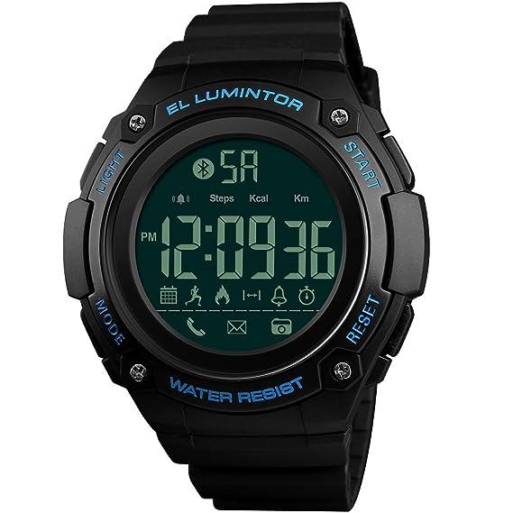 Reloj inteligente para hombre Fitness Tracker 5 ATM impermeable Bluetooth podómetro de actividad Tracker para Android iOS Sport Digital relojes de cámara ...