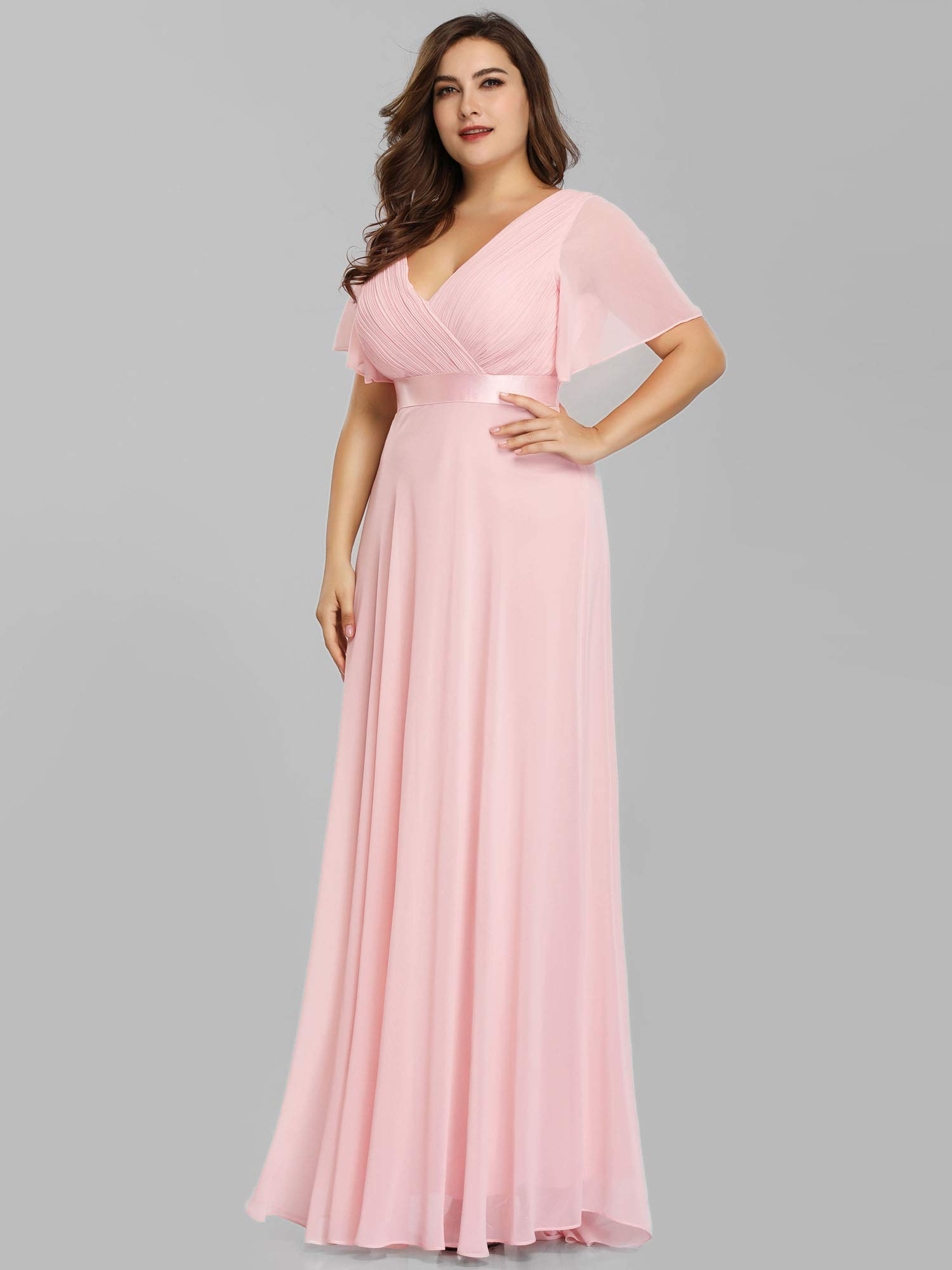 Ever-Pretty Women\'s Wedding Guest Dresses Formal Dresses Plus Size Pink US20