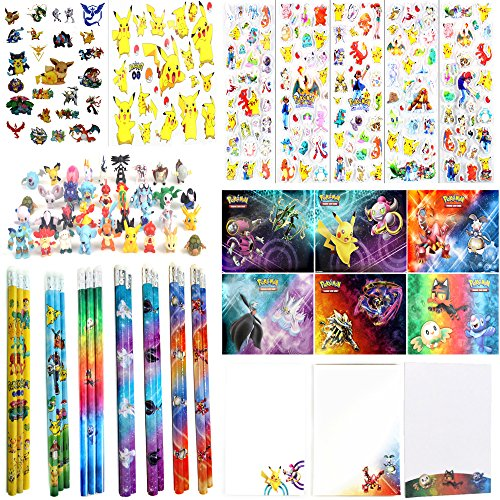 Pokemon Party Favor Value Pack - Mini Figures, Stickers, Tattoos, Pencils & Notepads (Bundle for 6 (Pokemon Favors)