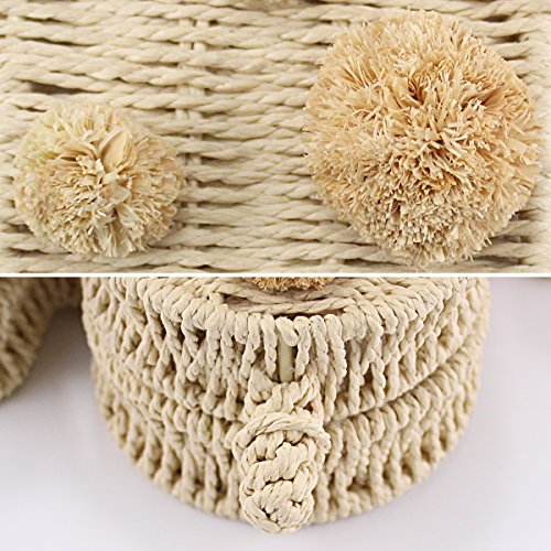 Leisure Tote Bag Ball Straw Bag Crossbody Evedaily Shoulder Fur Beach Bag Rattan Grass Womens Woven Cactus q7686X