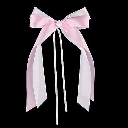 Fepito 25 Rosa Weiß Antennenschleifen Autoschleifen Hochzeit Hochzeitsdeko Tisch Deko Taufe Deko Mädchen Tichdeko Taufe Hochwertiges Satin