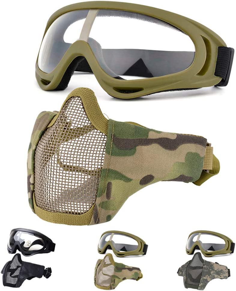 Fansport Airsoft Mask Tactical Goggles Set, Lower Half Face Mesh Masks Foldable Steel mesh mask Airsoft Protective Mask with Goggles Set for Hunting, Shooting, Paintball