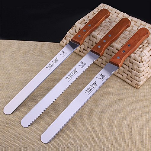 ZHU YU CHUN Professional 10'' Blade Serrated Cake Slicing/Bread Slicer Knife with Wooden Handle (Pack of 3) by ZHU YU CHUN (Image #2)