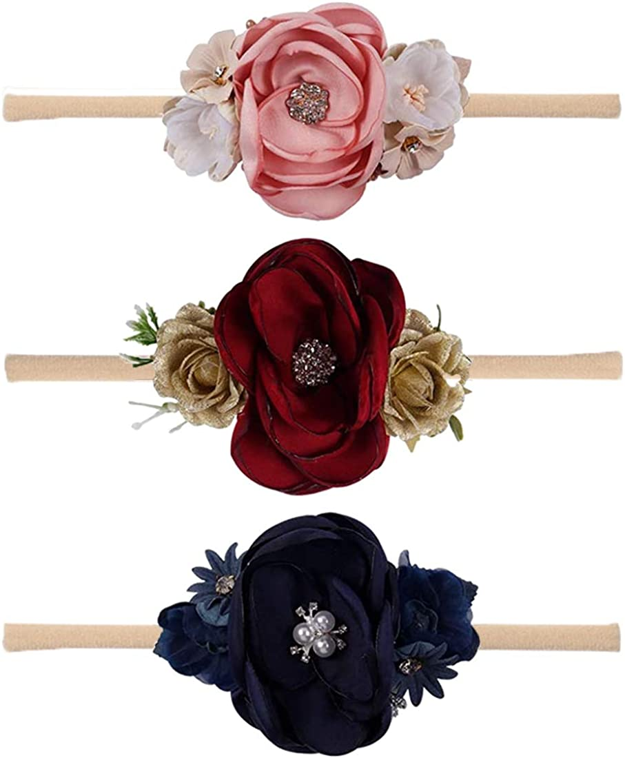 Cute Party Elastic Lace Hair Band Floral Headwear Baby Crown Hairband Flower