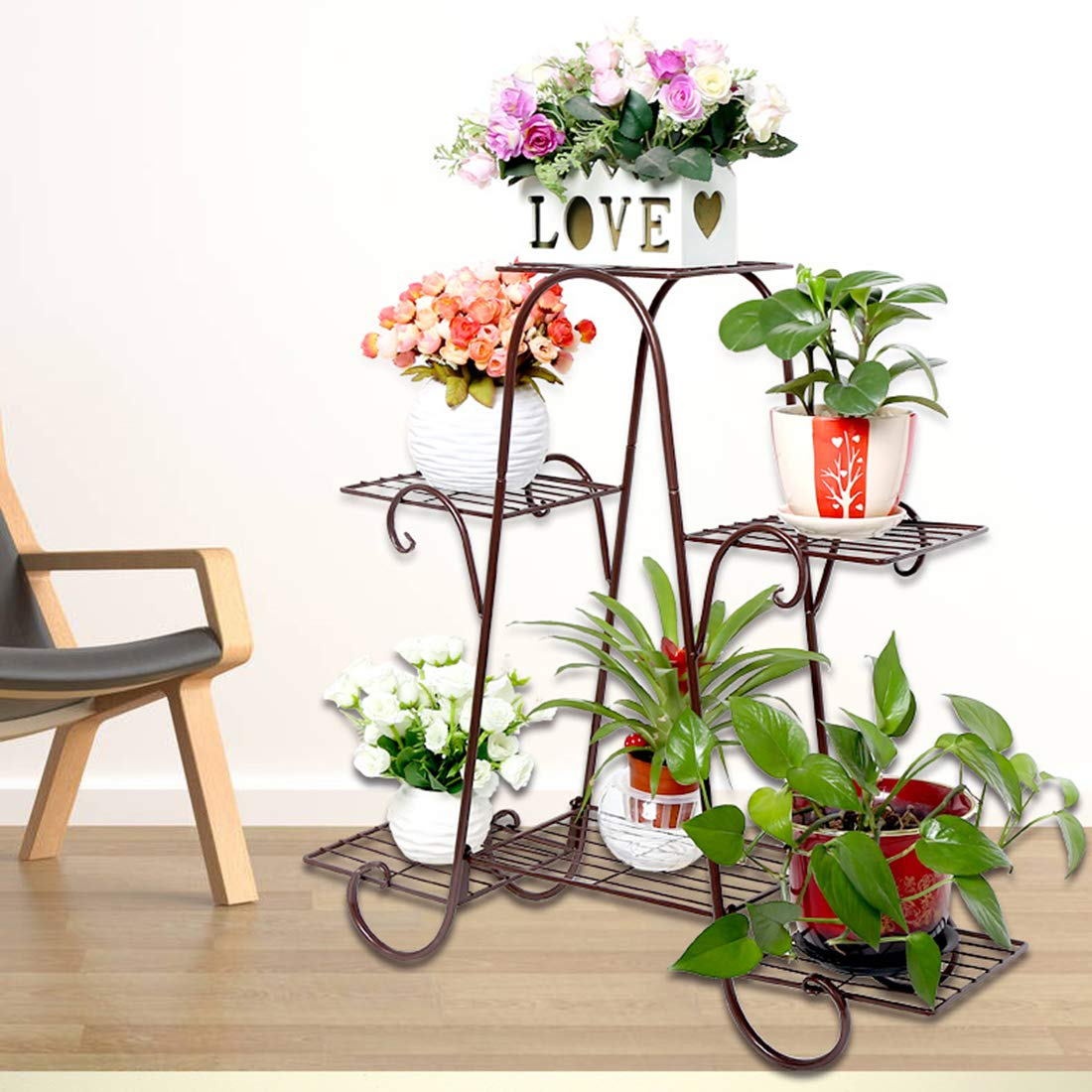 Tosbess Porte Pots Plante Fleurs 6 /Étag/ère Support Jardin en M/étal /Étag/ère /à Fleurs pour Int/érieur Ext/érieur Balcon Jardin,72 x 74 x 21cm Bronze