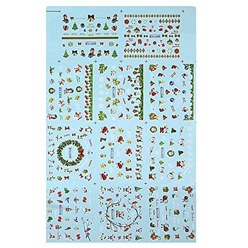 Stickers des ongles - SODIAL(R)Noel autocollants stickers Nail Art avec la conception du Pere Noel et les rennes, Flocons de neige etc