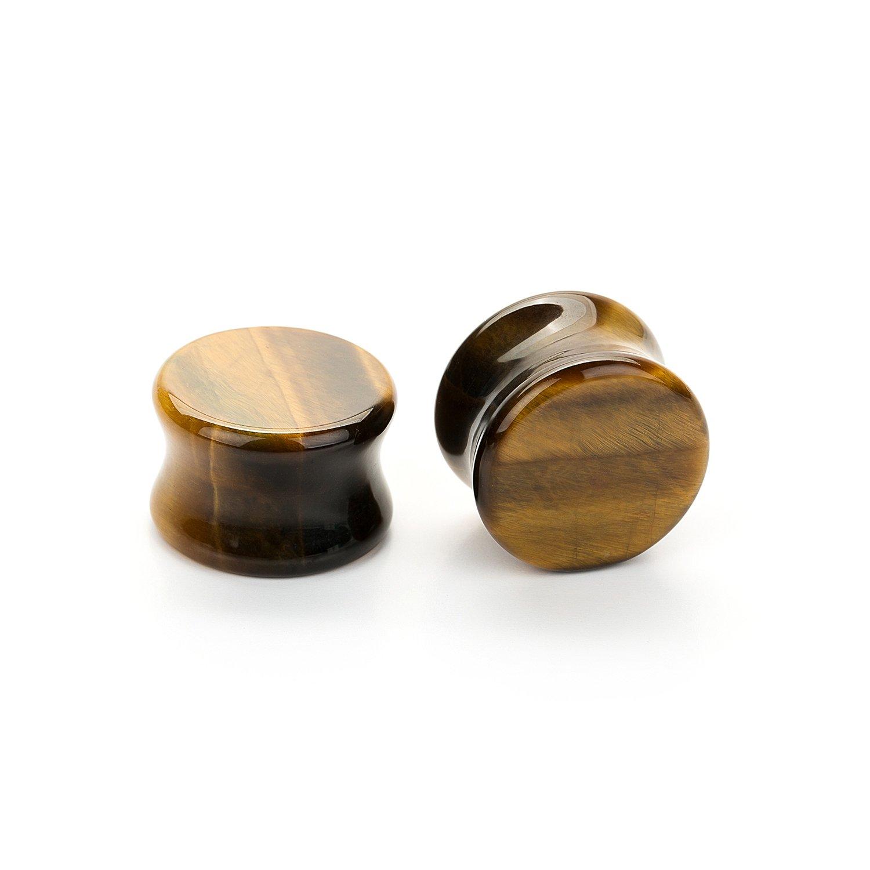 CABBE 5Pairs Stone Ear Plugs Kit Gauges 2g-20mm Saddle Expander Set Stretchers Piercing Jewelry