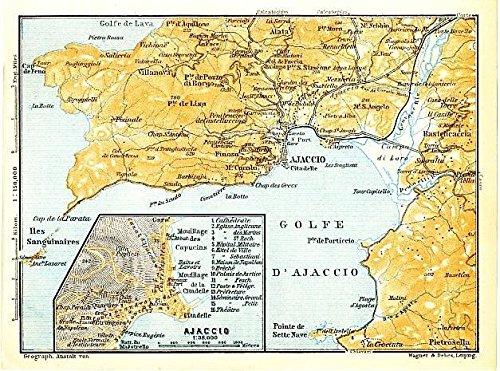 Map Of France Mediterranean Coast.Amazon Com Ajaccio Corsica 1913 Detailed Antique France Map