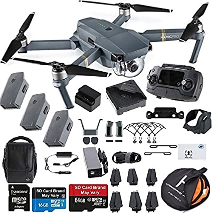 ee8b36c4951 Amazon.com: DJI Mavic Pro Fly More Combo Collapsible Quadcopter Drone  Safety Bundle with Extra 2 Batteries, Landing Pad Kit and More Accessories:  Camera & ...