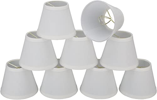 32060-9 Small Hardback Empire Shape Chandelier Clip-On Lamp Shade Set 9 Pack , Transitional Design in White, 5 Bottom Width 3 x 5 x 4