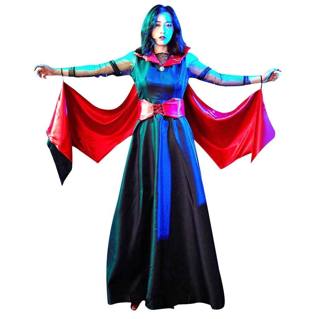 Women's Halloween Costumes The Glamour Witch Maxi Dresses with Witch Hat and Gloves Cosplay Party Clothing by ShenPourtor_Women Dress