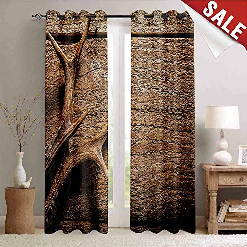 Antlers Decor Curtains by Deer Antlers on Wood Table Rustic Texture Surface Hunting Season Fall Gathering Art Room Darkening Wide Curtains W72 x L84 Inch Umber
