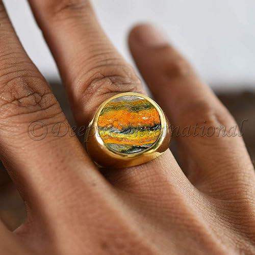 1618e70cb1b03 Amazon.com: 925 Sterling Silver Mans Ring Natural Bumble Bee Jasper ...