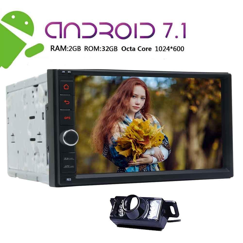 NewバージョンAndroid 7.1ダブルDINカーステレオGPS with 8コア2 GB RAM 32 GB ROM 1024600タッチスクリーンサポート4 G SIMカードScreenMirror Bluetooth SWCフロントカメラ+バックアップカメラ含ま B077T3QWCQ