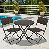 Best Choice Products 3-Piece Outdoor Patio Folding Rattan Hand Woven Bistro Set Furniture w/Table, 2 Chairs – Brown Review