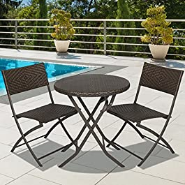 Best Choice Products 3pc Rattan Patio Bistro Set H...