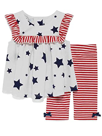 5f351e5b6a3 Infant Girls Red White   Blue Dress   Legging Set Patriotic Summer Outfit 6  9M