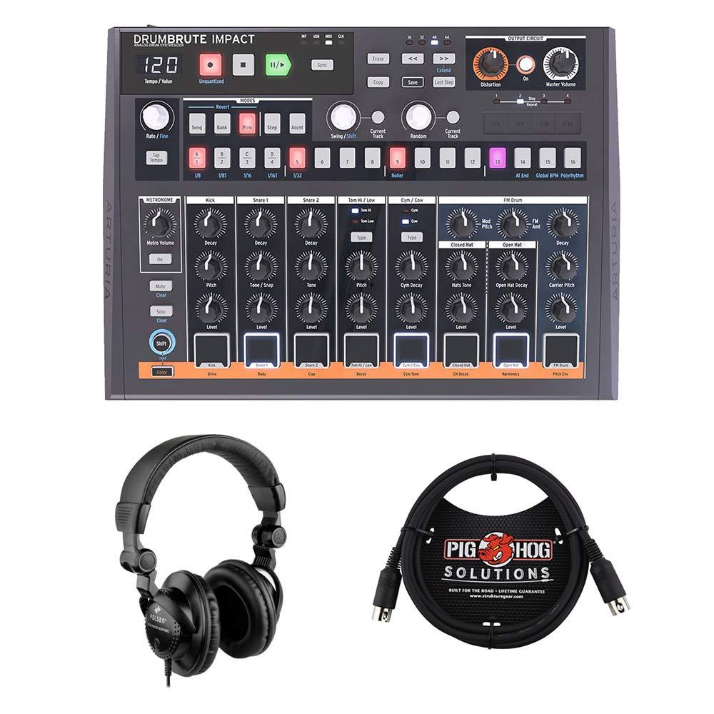 Arturia DrumBrute Impact Analog Drum Machine with 6ft MIDI Cable & HPC-A30 Studio Monitor Headphones Bundle