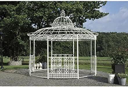 Gran carpa Kiosko de jardín pérgola refugio redondo de hierro blanco 340 x 370 x 370 cm: Amazon.es: Jardín