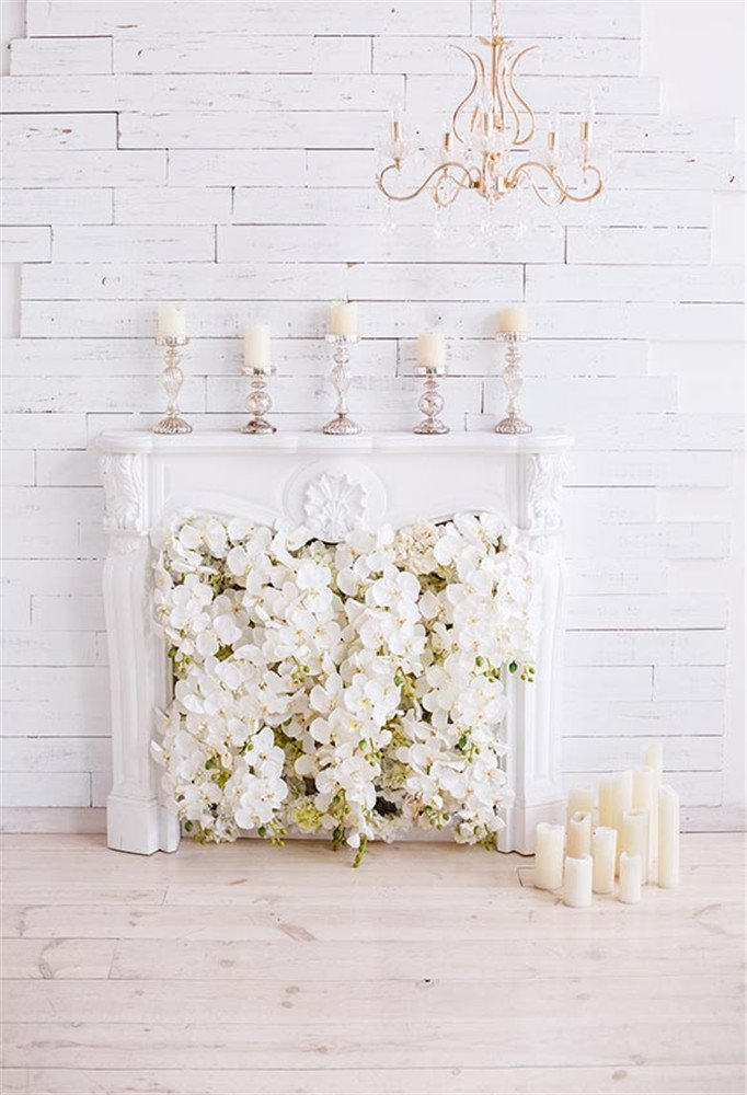 MEHOFOTO Photography Backdrops White Flowers Chandelier Wood Printed Party Photo Studio Booth Background 5ftx7ft