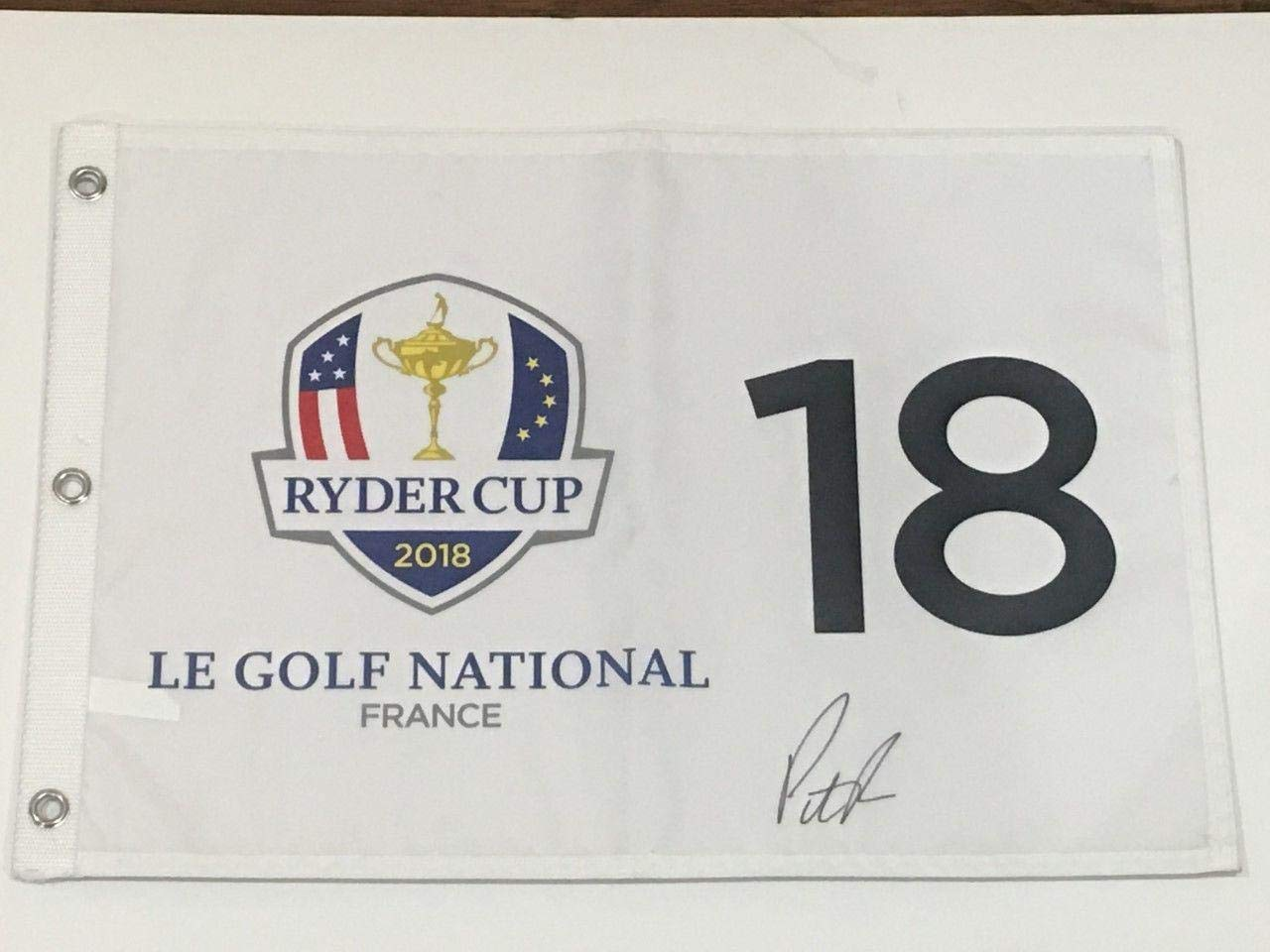 Patrick Reed Signed 2018 Ryder Cup Flag Le Golf National France Team Usa Proof Autographed Pin Flags
