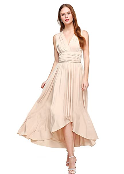 8e373859241 Clothink Women Convertible Wrap Multi Way High Low Long Wedding Dress Beige  S