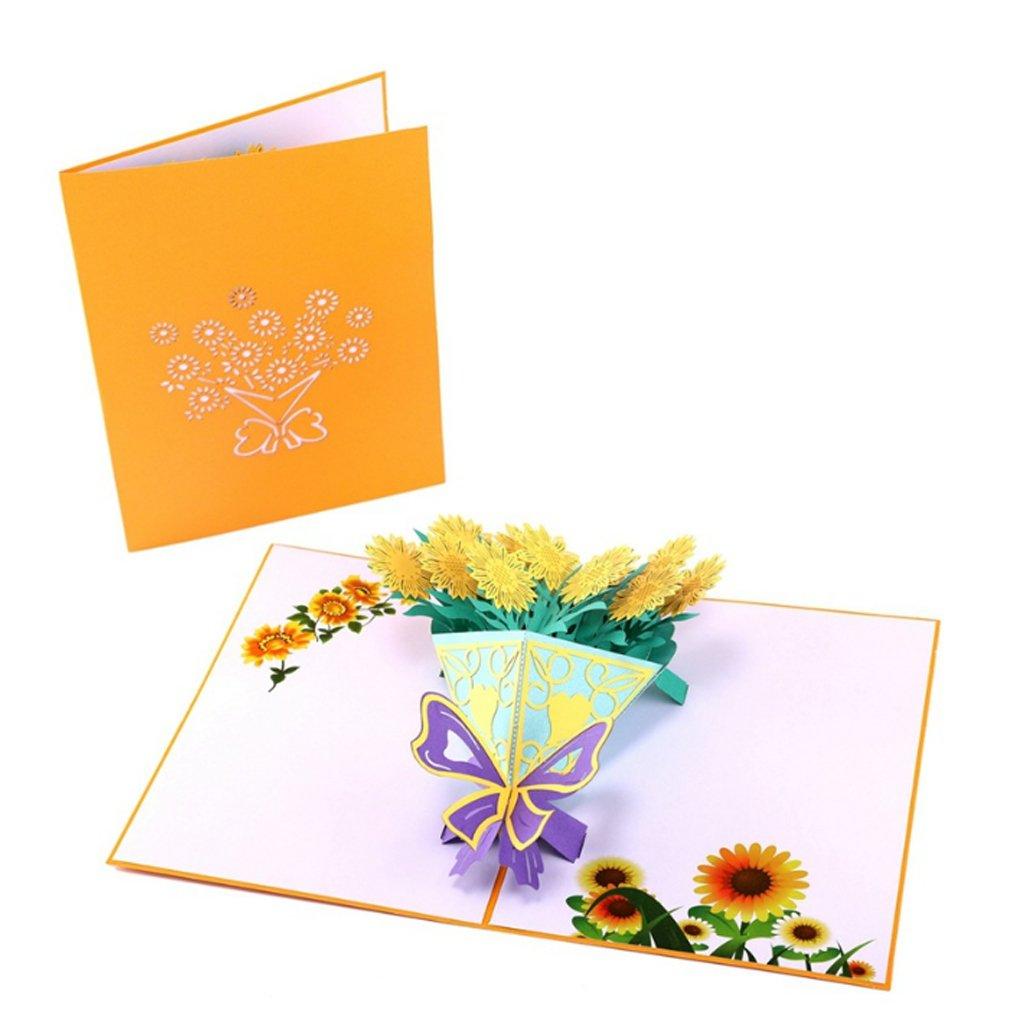 Zohong girasole biglietti d' auguri fatti a mano compleanno matrimonio invito 3D Pop Up di nuovo HJ04778