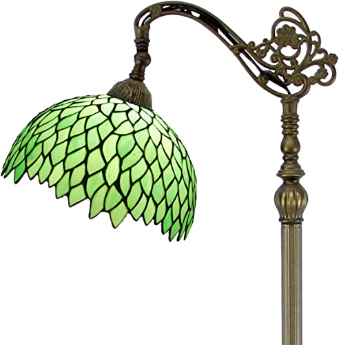 Tiffany Style Reading Floor Lamp Lighting W12H64 Inch Green Wisteria Stained Glass Lampshade Antique Adjustable Arched Base S523 WERFACTORY Lamps Living Room Bedroom Beside Table Desk Lover Gift