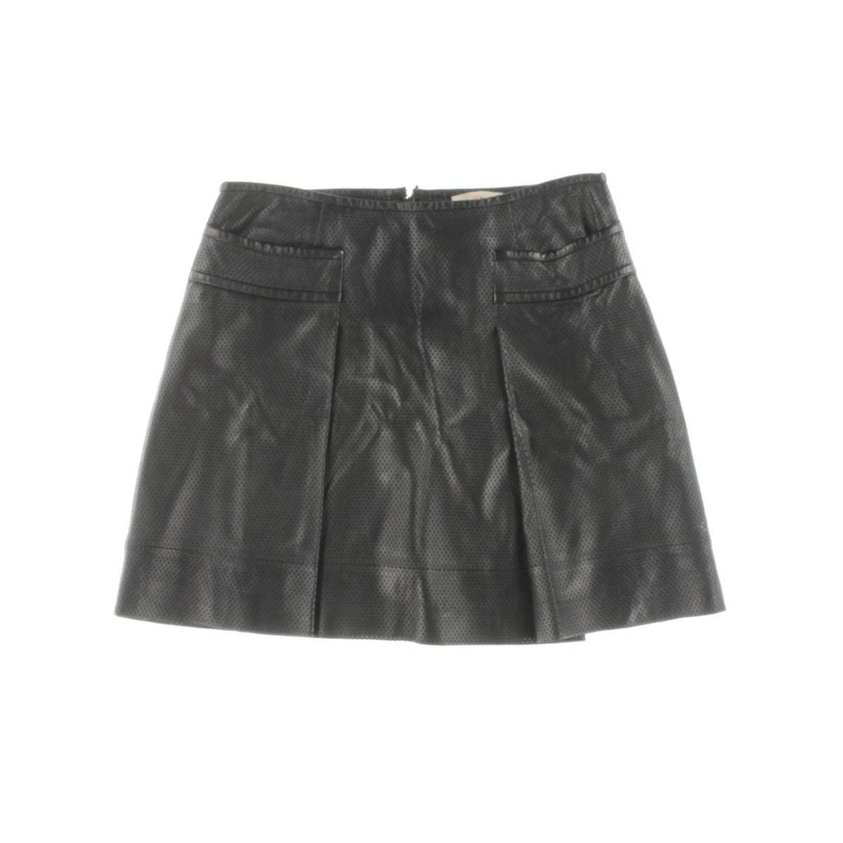 Tory Burch Womens Leather Pleated Mini Skirt Black 6