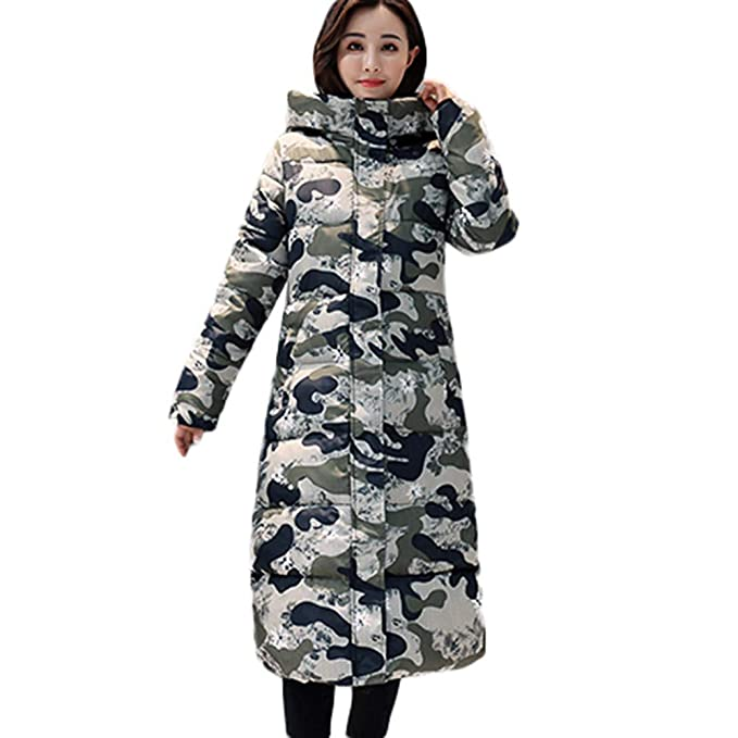 Beladla abrigo Mujer Invierno Plumas SeñOras Casual Espesar CáLido Cremallera Camuflaje Abrigo Acolchado Chaquetas con Capucha