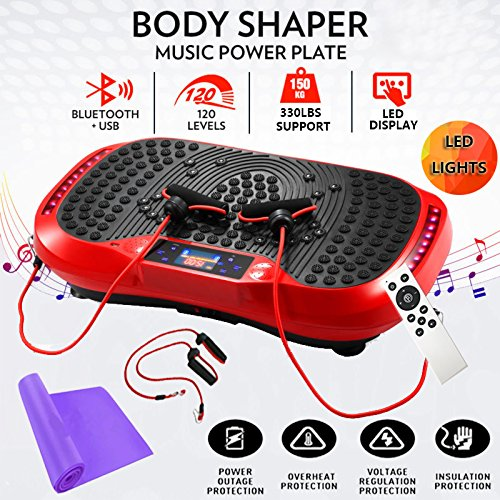 Reliancer Built-in Music Player Fitness Vibration Platform Whole Full Body Shaped Crazy Fit Plate Massage Workout Trainer Exercise Machine Plate w/Integrated USB Port&LED Light (W/Music-Red)