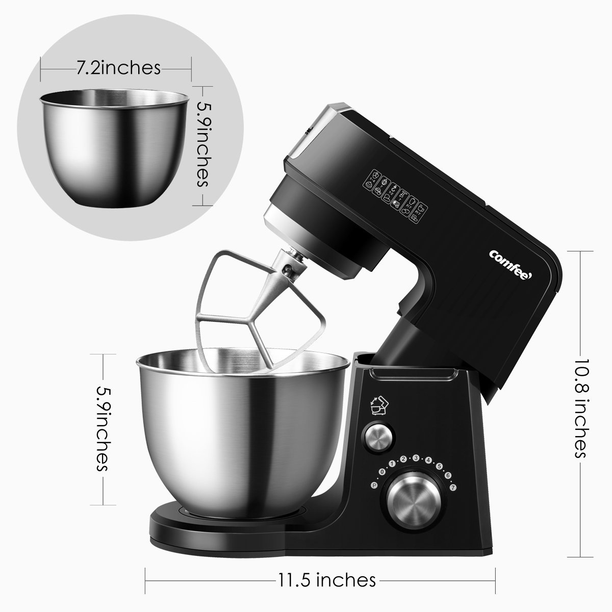 Comfee 2.6Qt Die Cast 7-in-1 Multi Function Tilt-Head Stand Mixer with SUS Mixing Bowl, Whisk, Hook, Beater, Splash Guard.4 Outlets, 7 Speeds & Pulse, 15 Minutes Timer Planetary Mixer (Black) by Comfee (Image #7)
